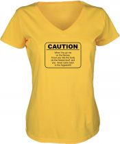 Lady V-Neck T-Shirt CAUTION