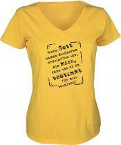 Lady V-Neck T-Shirt Wenn Gott etwas schöneres erschaffen hat